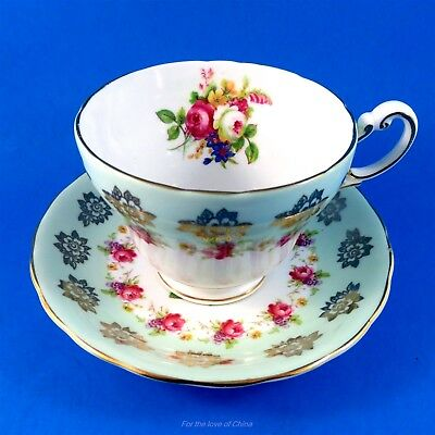 Green Border with Pretty Roses Victoria Tea Cup and Saucer Set