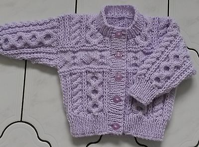 HAND KNITTED Baby Aran Cardigan Round Neck Made to Order Various Sizes