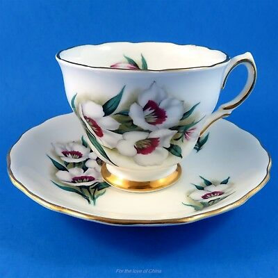 Pretty White Flowers with Deep Red Center Colclough Tea Cup and Saucer Set