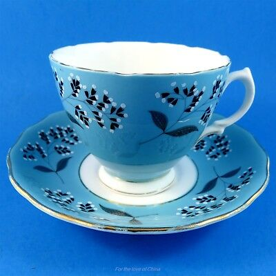 Black Bell Flowers on Blue Background Colclough Tea Cup and Saucer Set