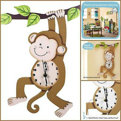 Sunny Safari Children Kids Room Wall Clock Nursery Decor with Monkey Tree