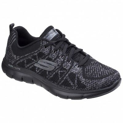 9ede3c84c7308 Skechers FLEX APPEAL 2.0 - NEW GEM Ladies Womens Sports Trainers Black  Charcoal