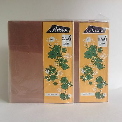 ARISTOC Two Pairs Of Allure Sheer Seam Free Nylon 1960s Vintage Stockings Size 9