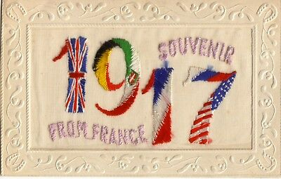 Vintage Silk Embroidered - Souvenir from France, 1917 - Postcard.