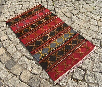 Vintage Old   Anatolian  NOMADS  Embroidered  Kilim  Rug  24'' X 42,5'' inches
