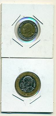 From Show Inv. - 2 VERY NICE BI-METAL COINS..KENYA..5 & 10 SHILLINGS..BOTH 2010