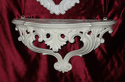 Wall Console White Baroque Flower Bench Antique/Wall Shelf 38x20 Telephone Table