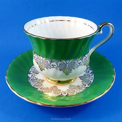 Emerald Green and Gold Design Sutherland Tea Cup and Saucer Set