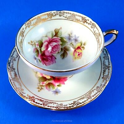 Pink Rose Bouquet on Pale Blue Royal Sutherland Tea Cup and Saucer Set