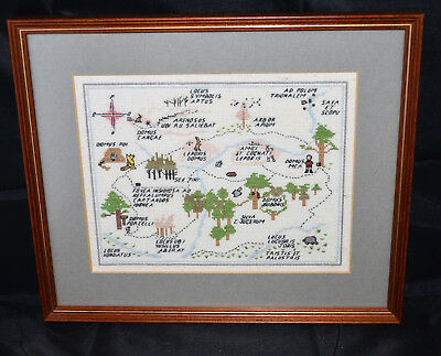 Embroidered Framed Picture of 100 Acre Wood - Winnie the Pooh - Gorgeous