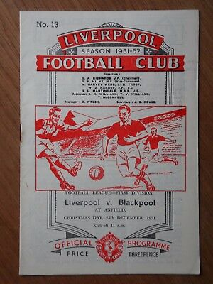 LIVERPOOL v BLACKPOOL First Division Christmas Day 1951 football programme