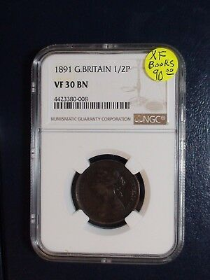 1891 Great Britain Half Penny NGC VF30 BN 1/2P Coin BUY IT NOW!