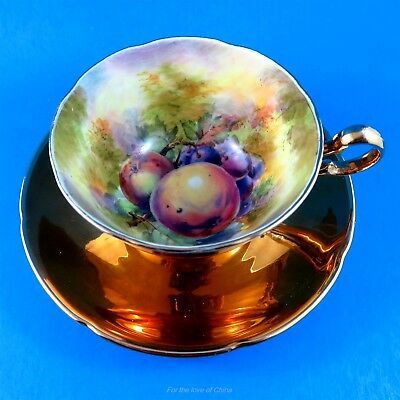 Painted Signed Fruit and Gold Royal Winton Tea Cup and Saucer