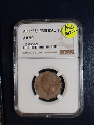 AH1357 - 1938I IRAQ TEN FILS  NGC AU50 10F Coin PRICED TO SELL NOW!