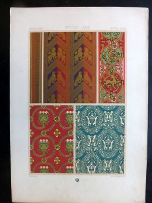 Racinet L'Ornament Polychrome 1873 Design Print. Middle Ages 53