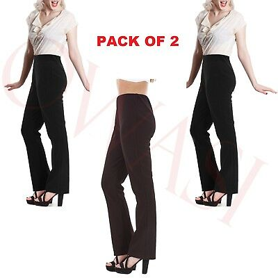 Pack Of 2 New Womens Bootleg Trousers Ladies Bootcut Stretch Ribbed Work Bottoms