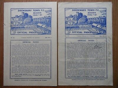 SHREWSBURY TOWN v NOTTINGHAM FOREST & DONCASTER ROVERS 1946-1947 Midland League