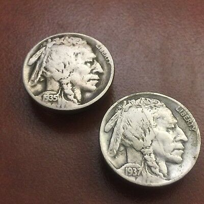 Vintage Lot of 2 Buffalo Nickel & Indian Head Coin Button Covers