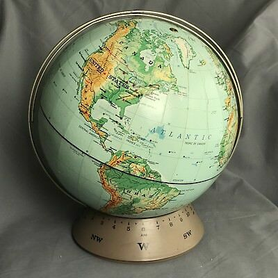 Vintage 1967 Rand McNally & Co World Globe Randmark III On Base W/ Time Line