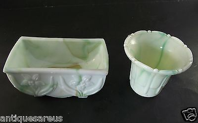 2 Lot Akro Agate Flaired Planter Multi Color Greens 657 & 297 Flower Pot