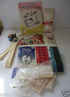 SEWING LOT HAPPY HOME , SINGER THIMBLE, AUNT MARTHA TRANSFERS DeLONG