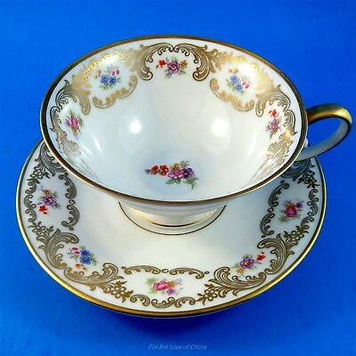 Floral and Gold Garland Bavaria Tirschenreuth Germany Tea Cup and Saucer Set