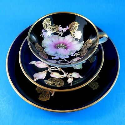 Pink and White Floral on Black Bavaria Tea Cup, Saucer and Plate Trio Set