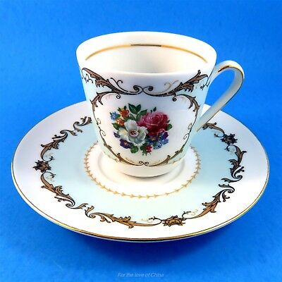 Light Blue with Handpainted Floral Small Bavaria Tea Cup and Saucer Set