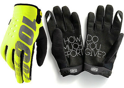 100% YOUTH BRISKER COLD WEATHER WINTER MOTOCROSS BIKE GLOVES NEON YELLOW kids