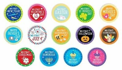 Pearhead First Year Holiday Milestone Photo Baby 14 Belly Stickers FREE SHIPPING