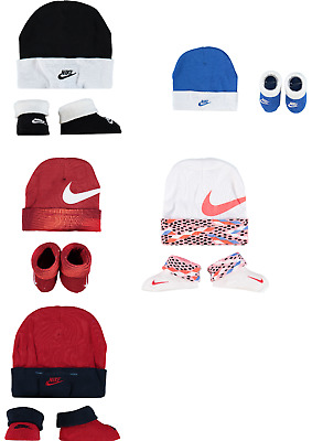 Nike Swoosh Baby Infant 2 Piece Hat Booties 0-6 Months Set Unisex Male Female