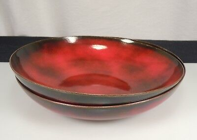 1957 Jade Snow Wong Pair Red Enamel on Copper Bowls