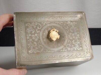 Chinese Pewter Tea Caddy Box w/ Carved Peach Finial