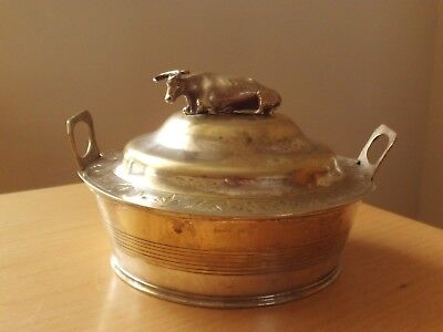 Vintage Metal Butter/Cream Dish with Cow Figure on Lid.