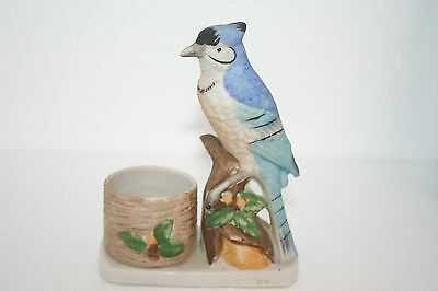 Vtg Hand Painted Bisque Porcelain Jasco Luvkin Songbirds Blue Jay Candle Holder