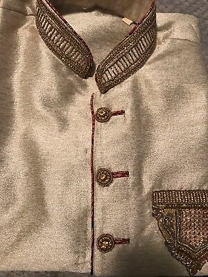Men's Indian Outfit Sherwani (kurta:shirt) Pajama (pant) Set -size 42