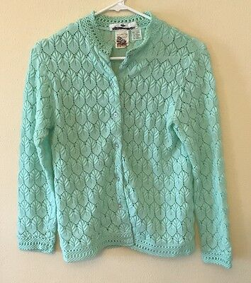 VTG Womens S Green Knit Cardigan Sweater Montgomery Ward Acrylic - Japan