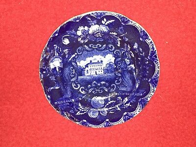 Historical Staffordshire Dark Blue Cup Plate States Pattern By Clews Ca. 1825