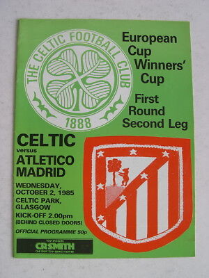 Celtic v Atletico Madrid 1985/86 Cup Winners Cup