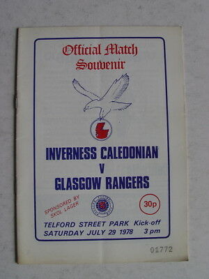 Inverness Caledonian v Rangers 1978/79 Friendly