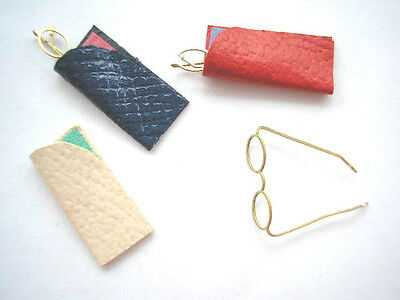 Kit SPECTACLES 3prs LEATHER CASES 1/12th scale reading glasses dollhouse cHB