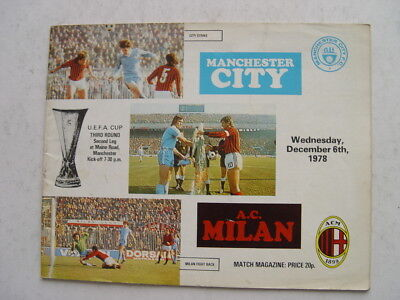 Manchester City v AC Milan 1978/79 UEFA Cup
