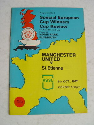 Manchester United v St Etienne 1977/78 Cup Winners Cup at Plymouth