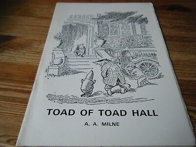 1973   Theatre Programme  -  A.a. Milne's -  Toad Of Toad Hall - Nottingham  Vgc