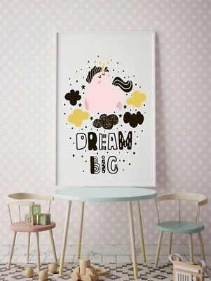 Scandi Kids Decor Unicorn Dream Big A3 Print Poster