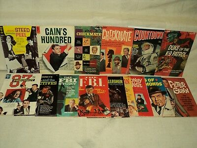 Dell Gold Key Spy Movie TV LOT Nice! Avengers, Peter Gunn, FBI! 15 Comics (9382)
