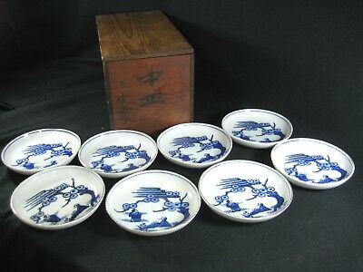Japanese 100 Year Old Antique Signed Set Of 8 Ceramic Sauce Dish Hand Painted