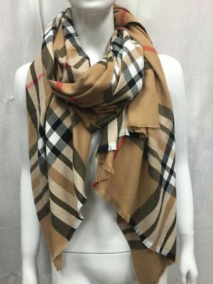Oversized Large 100% Cashmere Scarf Made In Scotland Beige Plaid Super Soft