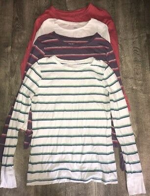 Lot Of 4 WOMEN'S MOSSIMO LONG SLEEVE 100% COTTON  Tee Shirt Top Large