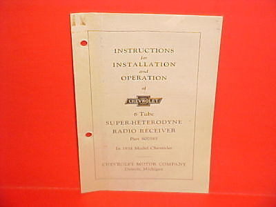 1934 Chevrolet Standard Master Radio Owners Installation Service Manual 600565